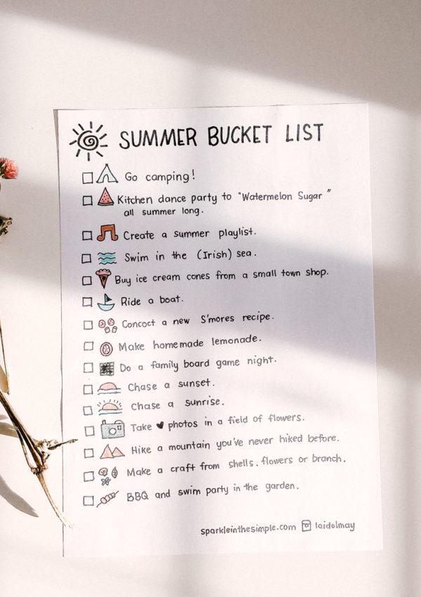 Summer Bucket List, A Free Printable